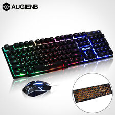US Wired LED 104 Key Gaming Keyboard Mouse Set USB Multi-Colored Changing