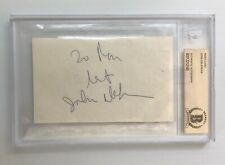 John DeLorean Signed Autograph 3x5 Cut Signature Beckett BAS Encapsulated
