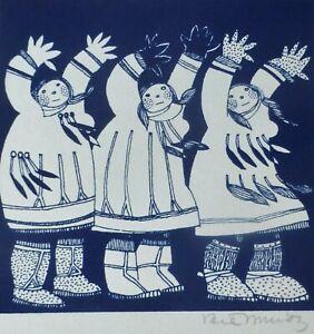 RIE MUNOZ 1921-2015 Eskimo Dancers  SERIGRAPH 1985 US ALASKAN ARTIST HAND SIGNED