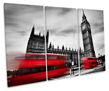 Red Bus London Big Ben Picture TREBLE CANVAS WALL ART Print