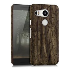 HARD COVER VINTAGE WOOD FOR LG GOOGLE NEXUS 5X DARK BROWN CASE BACK SHELL BUMPER