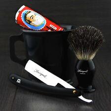 New Old Style Straight Cut Throat Shaving Razor With Brush, Soap & Mug Gift Set