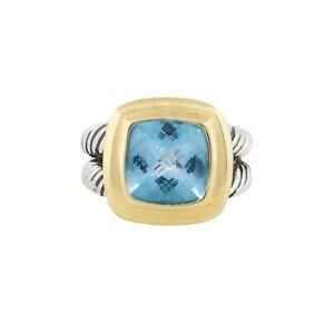 David Yurman 18k & Sterling Silver Blue Topaz Albion Ring