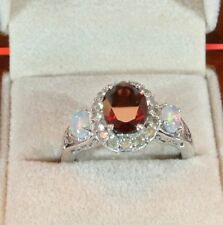 MOZAMBIQUE GARNET AND WELO OPALS & ZIRCON ACCENTS PLATINUM OVER 925 RING SIZE 7