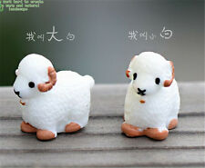2PCS White Micro Fairy Garden Sheep Mini Bonsai Plant Landscape Ornaments Decor
