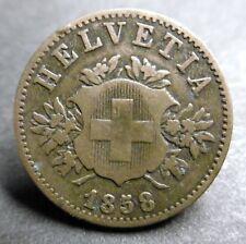 SUISSE - 20 RAPPEN 1858 B - Billon