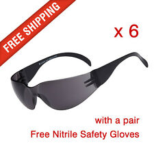 6 x Tinted Safety Glasses Eye Protection with a pair Nitrile Safety Gloves Free