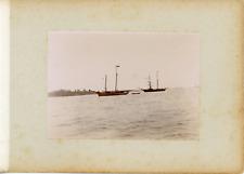 France, Bretagne, Les bateaux dans le port, ca.1900, vintage citrate print Vinta