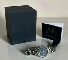 NEW ANNE KLEIN GUNMETAL FACE SWAROVSKI CRYSTALS ACCENT SILVER BRACELET WATCH $95