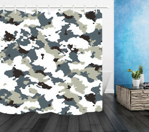 Abstract Camouflage 100% Polyester Fabric Shower Curtain Liner Bathroom Hooks