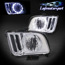 For 2005 2006 2007 2008 2009 Ford Mustang Chrome LED Halo Headlights Pair