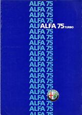 Catalogue prospekt brochure Alfa Romeo 75 Turbo 1987 FR