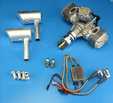 New DLE60 60cc Gasoline Engine Rear Exhaust w/ Muffler & Ignition For RC Plane