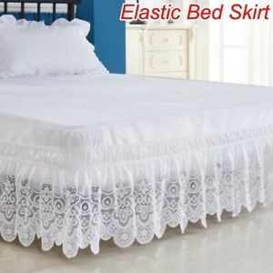 3 Sided Elastic Lace Wrapped 15 Inches Drop Bed Skirt Twin/Full/Queen/King size