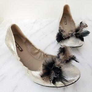 ALL BLACK Footwear Ballet Flats Metallic Silver Leather Feathers Women's Shoes 8