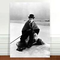 "Charlie Caplin Movie Poster Art ~ CANVAS PRINT 24x16"" ~ Portrait in Snow"