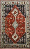 Geometric South-western RUST/NAVY 5x8 ft Yalameh Oriental Area Rug Hand-Knotted