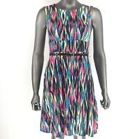 Calvin Klein dress boho festival multicolor artsy flowy rainbow sun size 2P