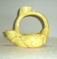 Vintage Figural Art Pottery Planter Candle Holder Combo Yellow Vine