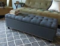 End of Bed Storage Bench Gray Tufted Soft Seat Hallway Bedroom Lounge Furniture