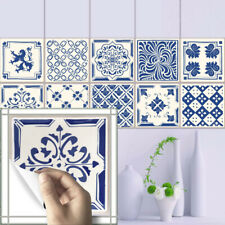 20 PCS 3D BLUE DESIGN TRANSFER SELF-ADHESIVE BATHROOM KITCHEN WALL TILE STICKER