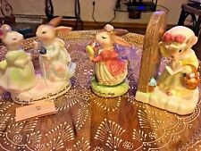 3 Precious Moments Older bunny and mouse figurines...lot of 3
