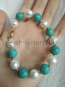 turquoise 11-10MM SOUTH SEA GENUINE WHITE PEARL BRACELET 14K GOLD CLASP