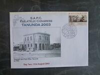 2003 TANUNDA SAPC CONGRESS COVER W/- COUNTER PRINTED CONGRESS STAMP