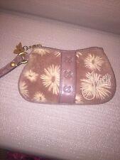 Juicy Couture Tan Velour Zipper Wristlet Pouch Wallet