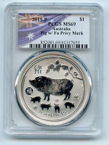 2019 P $1 Silver 1 oz Dollar Australia Year of Pig w/ Fu Privy Mark PCGS MS69