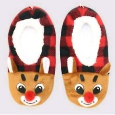 Rudolph the Red-Nosed Reindeer Women's Plaid Slipper Socks Size M/L NEW