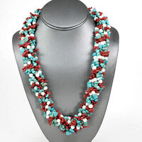 "Multi-strand  Green Turquoise Pearl &Coral Necklace Silver Toggle 26"" FREE SHIPP"