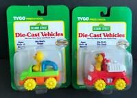 Vtg 1997 Sesame Street Big Bird Buggy and Fire Truck Die Cast Cars Lot 2 pc Tyco