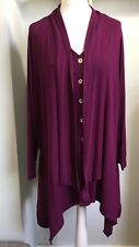 CHESCA Plum Purple Jersey Tunic Size 24 Stretch Lagenlook Curved Hem Neck Tie