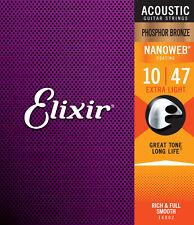 Elixir Nanoweb Phosphor Bronze Acoustic Guitar Strings .010-.047 Ex Light 16002
