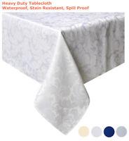 "Tektrum 60""X120"" Rectangular Damask Tablecloth-Waterproof/Stain Resistant -White"