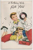 Vintage 1950s Birthday Card Glitter 45 Records Rock n Roll Theme Unused