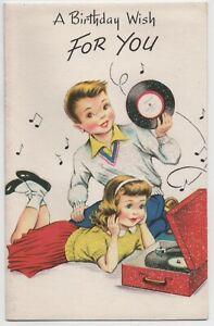 Vintage 1950s Birthday Card Glitter 45 Records Rock n Roll Theme Unused