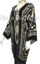 Kimono Jacket Silk Burnout Velvet Long Beige & Black No Fringe Maya Matazaro