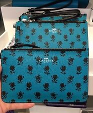 NWT Coach Badlands Floral Printed Small Wristlet F56024 - Turquoise Black
