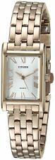 Citizen EJ6123-56A Women's Quartz Rose Gold Tone Rectangular Silver Dial Watch
