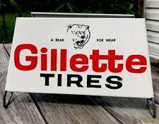 "Vintage 1960's Gillette Tires ""A BEAR FOR WEAR"" TIRE RACK Metal Sign Stand"