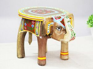 Wooden Elephant Shape Floor Decor Side Stool, Kids Table, Statue Stand, Gifts