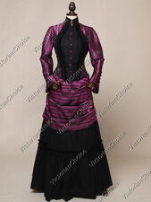 Victorian Steampunk Dark Mad Hatter Bustle Vampire Halloween Dress N 139 XXL