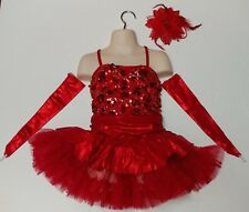 Red Sparkly Ice Figure Skating Dance Christmas Salsa Dress Child Girls Small S