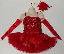 Red Sparkly Ice Figure Skating Dance Salsa Tango Dress Child Girls Medium M