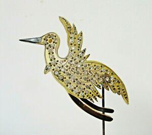 Antique Hatpin Huge Celluloid Bird Crane Rhinestones