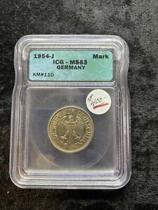 GERMANY 1954-J 1 MARK COIN MS63 ICG
