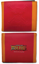 **License** One Piece SD Luffy Skull Logo Icon Red Bifold Wallet #61852