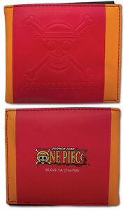 **License** One Piece SD Luffy Skull Logo Icon Red Bifold Wallet #61852